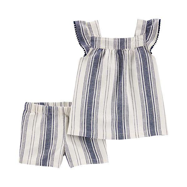 Baby Girl Carter's 2-Piece Striped Linen Tank & Short Set