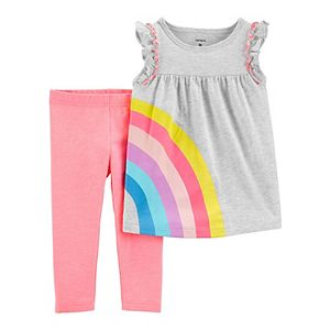 Baby Girl Carter's 2-Piece Rainbow Jersey Top & Capri Legging Set