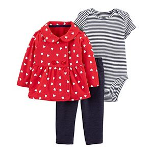 Baby Girl Carter's 3-Piece Heart Little Cardigan Set