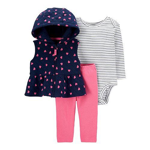 Baby Girl Carter's Heart Little Vest Set
