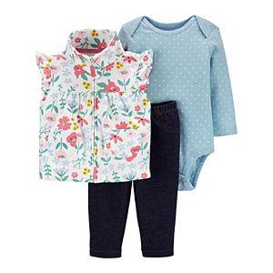 Baby Girl Carter's Floral Little Vest Set