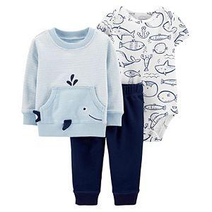 Baby Boy Carter's Whale & Friends Little Crewneck, Bodysuit and Pants Set
