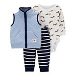 Baby Boy Carter's Quilted Vest, Dog Bodysuit & Pants Set