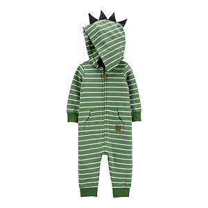 Baby Boy Carter's Hooded Striped Dino Spikes Jumpsuit