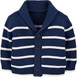 Baby Boy OshKosh B'gosh® Shawl Collar Striped Knit Cardigan