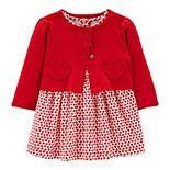 Baby Girl Carter's Valentine's Day Bodysuit Dress & Cardigan Set