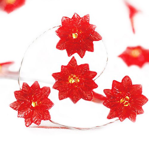 Manor Lane 5ft Poinsettia Shimmer String Lights