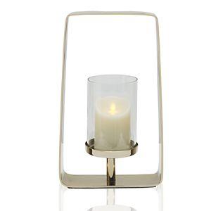 Scott Living Luxe Brass Metal Open Hurricane Candle Holder