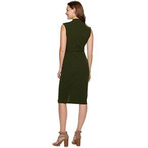 Juniors' Almost Famous Drop Shoulder Zip Front Midi Dress
