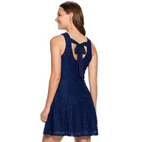 Juniors' Speechless Lace Dress with Back Bow Tie and Pockets