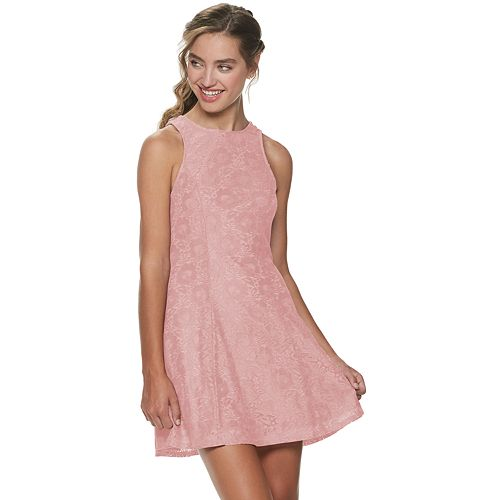 Juniors Speechless Lace Dress With Back Bow Tie And Pockets