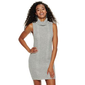 Girls' 7-16 Almost Famous Turtle Neck Cable/Shaker Stitch Mini Dress