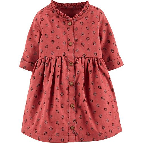 Baby Girl Carter's Floral Button-Front Twill Dress
