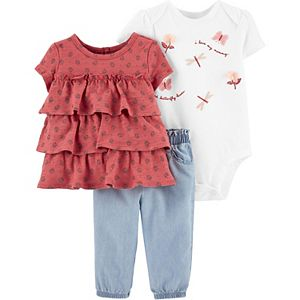 Baby Girl Carter's Ruffle Top, Dragonfly Bodysuit & Chambray Pant Set