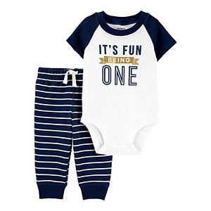 "Baby Boy Carter's ""It's Fun Being One"" Bodysuit & Striped Pants Set"