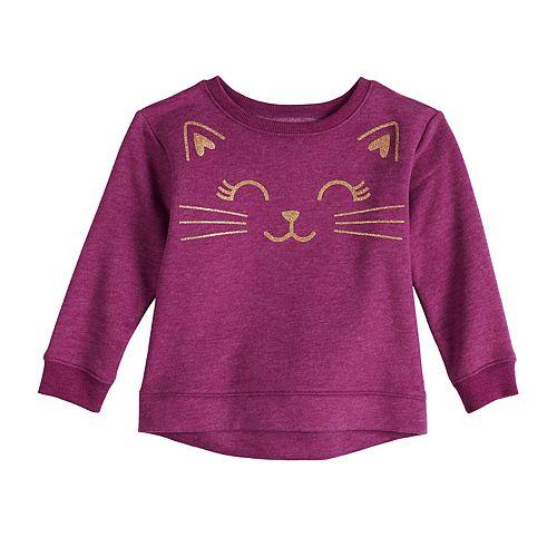 Toddler Girl Jumping Beans® Glitter Cat Fleece Sweatshirt