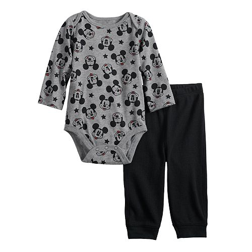 Disney's Mickey Mouse Baby Print Bodysuit & Thermal Pants Set by Jumping Beans®