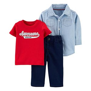 Baby Boy Carter's Awesome Little Guy Tee, Striped Shirt & Pants Set