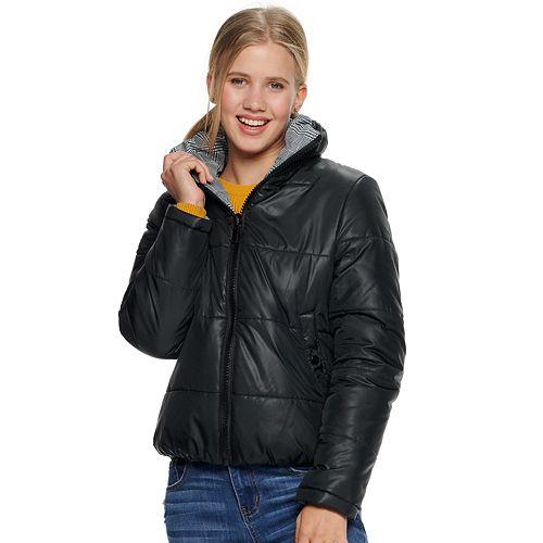 Juniors' Maralyn & Me Reversible Puffer Jacket by Maralyn & Me