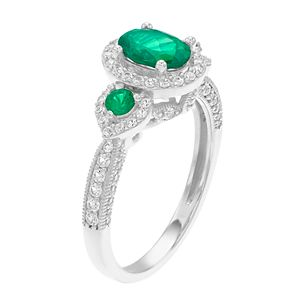 10k White Gold Emerald & 1/2 Carat T.W. Diamond Ring
