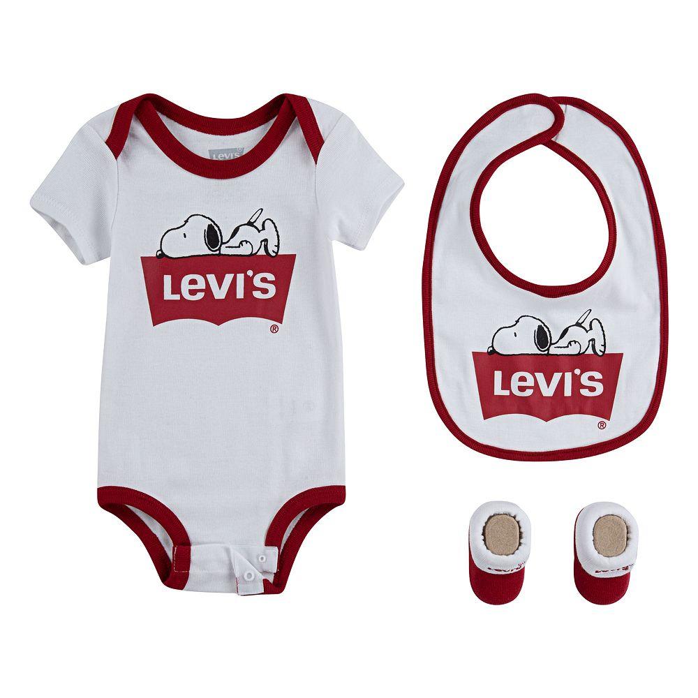 Baby Levi's® Peanuts Snoopy Bodysuit, Bib & Booties Set