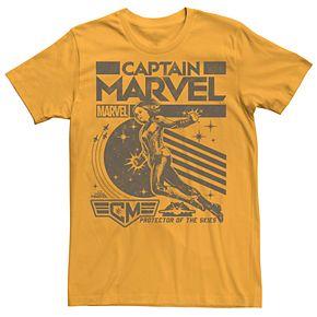 Men's Captain Marvel Retro Style Poster Logo Tee