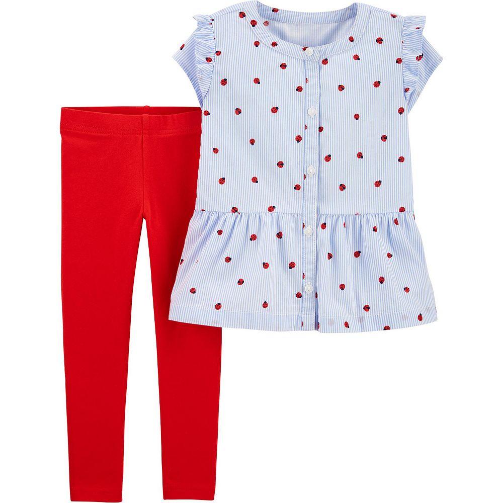 Toddler Girl Carter's Ladybug Button-Front Top & Legging Set