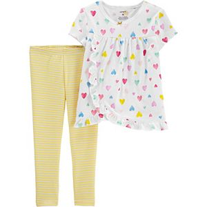 Toddler Girl Carter's Heart Slub Top & Striped Legging Set