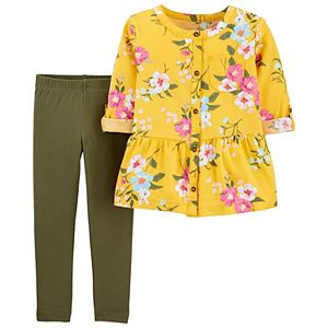 Toddler Girl Carter's Floral Sateen Top & Legging Set