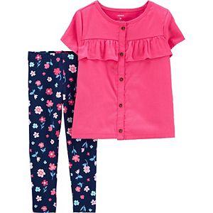 Toddler Girl Carter's Button-Front Sateen Top & Floral Legging Set