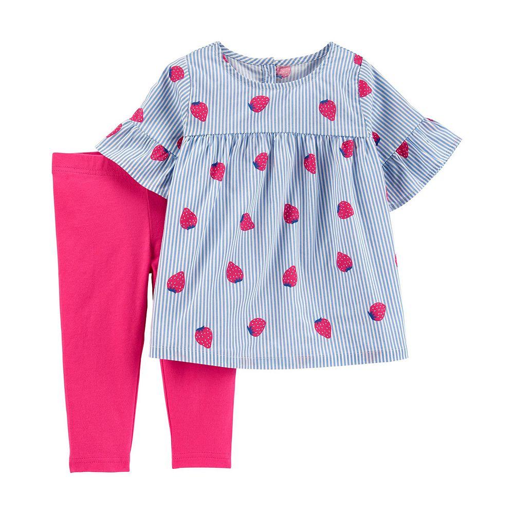 Toddler Girl Carter's Striped Strawberry Top & Legging Set