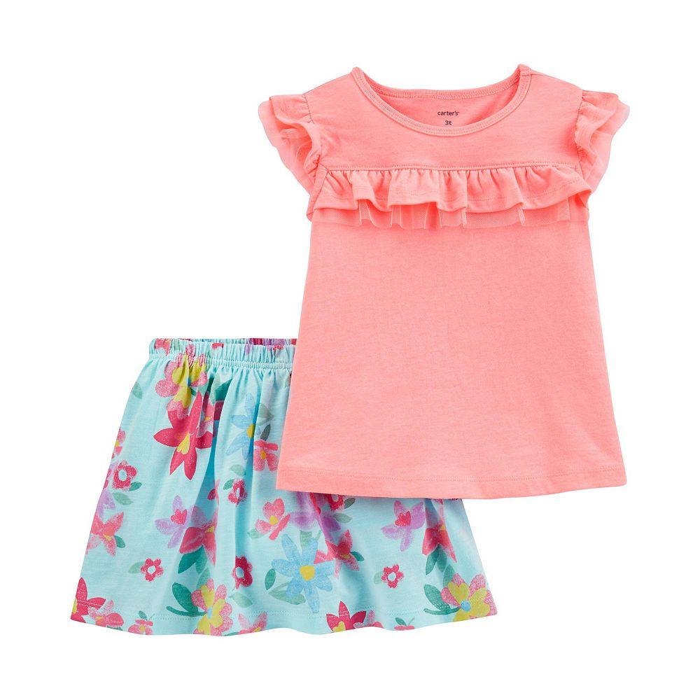 Toddler Girl Carter's 2-Piece Flutter Top & Floral Skort Set
