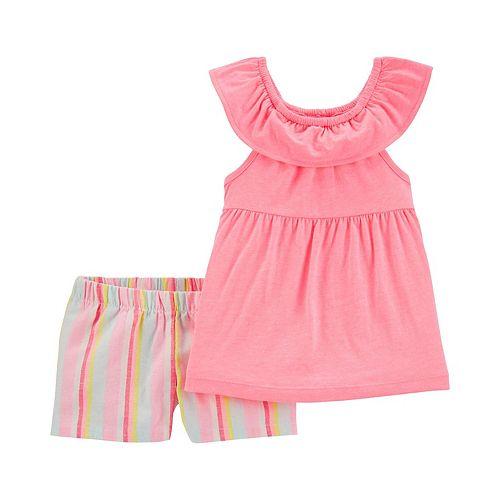 Toddler Girl Carter's 2-Piece Neon Ruffle Top & Striped Short Set