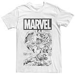 Men's Marvel Captain America Black And White Comic Tee