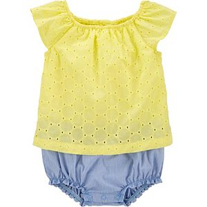 Baby Girl Carter's Embroidered Eyelet Sunsuit
