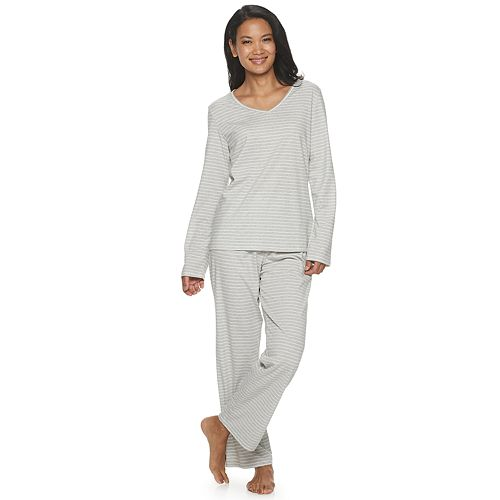 Women's Croft & Barrow® Long Sleeve Knit Key Item Sleep Set