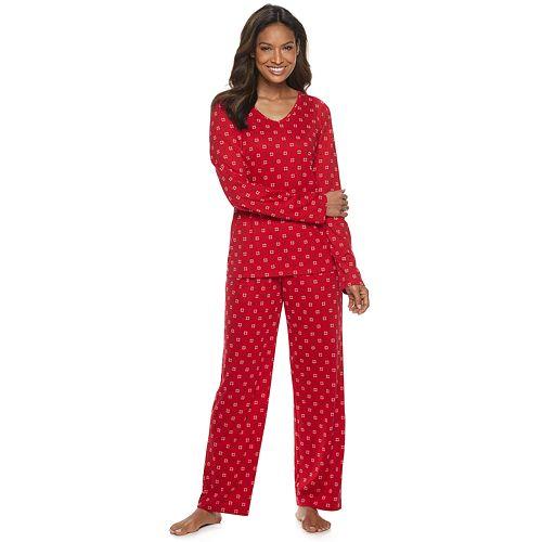 Women's Croft & Barrow® Long Sleeve Knit Key Item Sleep Set