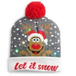 Women's Let It Snow Reindeer Light-Up Beanie