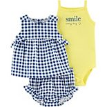 Baby Girl Carter's 3-Piece Gingham Top, Bodysuit and Little Shorts Set