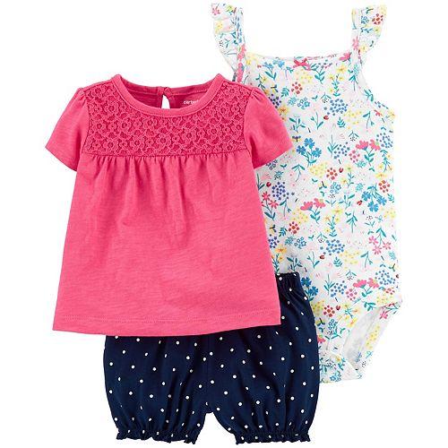 Carters Girl Chambray Polk-a-dot Soft Printed Shorts Size 6