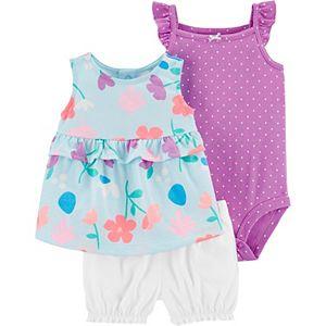 Baby Girl Carter's 3-Piece Floral Top, Polka-Dot Bodysuit & Shorts Set
