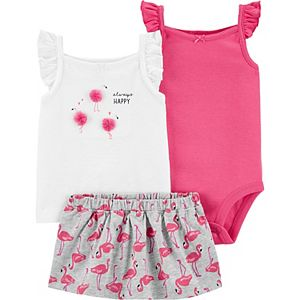 Baby Girl Carter's 3-Piece Flamingo Tank, Bodysuit & Skort Set