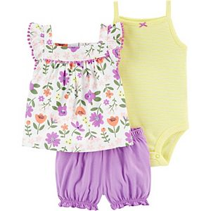 Baby Girl Carter's 3-Piece Floral Top, Bodysuit and Little Shorts Set
