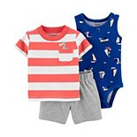 Baby Boy Carter's Beach Bodysuit, Striped Tee & Shorts Set