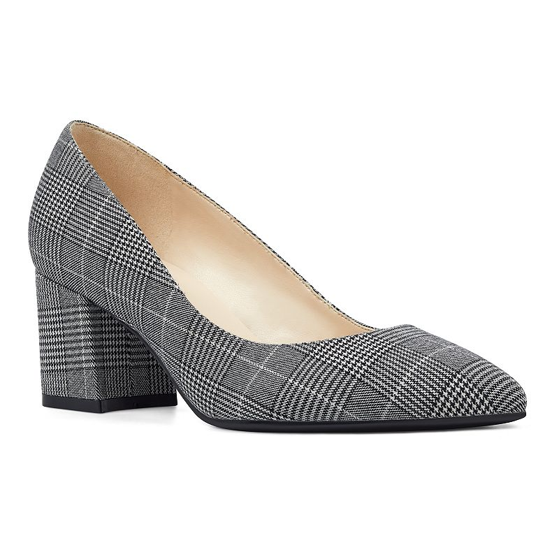 These Nine West Issa Women\'s Block Heels are the perfect addition to any elegant look. These Nine West Issa Women\'s Block Heels are the perfect addition to any elegant look. SHOE FEATURES Pointed to design, secure-slip on fit Traction sole and small block heel SHOE CONSTRUCTION Leather, faux suede, fabric upper Manmade lining & outsole SHOE DETAILS Pointed toe Slip-on Padded footbed 2.5-in. heel Size: 10. Color: Black White Plaid. Gender: female. Age Group: adult. Material: Synthetic.