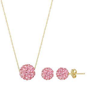 14k Gold Crystal Fireball Necklace & Stud Earring Set