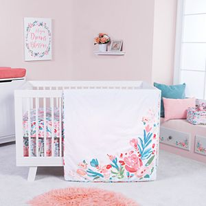 Baby Girl Trend Lab Painterly Floral 3 Piece Crib Bedding Set