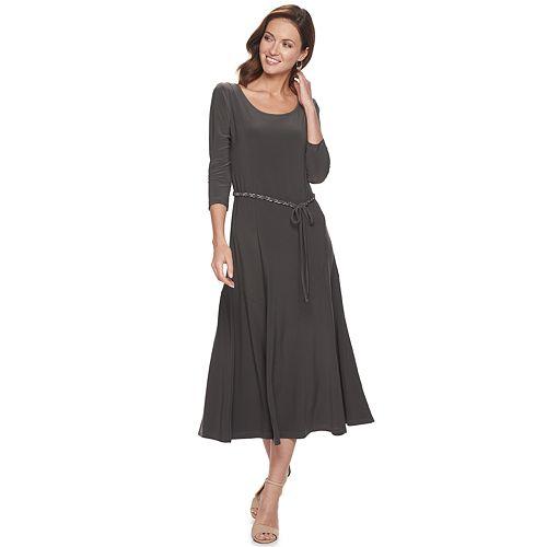 Women's Nina Leonard Sylvia Solid Midi Dress