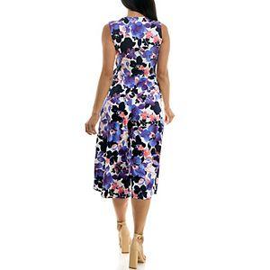 Women's Nina Leonard Print Surplice Wide-Leg Jumpsuit