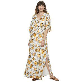 Women's Nina Leonard V-neck Draped Gauze Maxi Dress